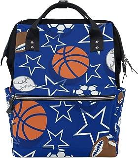 Basketball Soccer Football Star Blue Sport Diaper Bag Mummy Dad Tote Backpack Travel School Boy Girl Large
