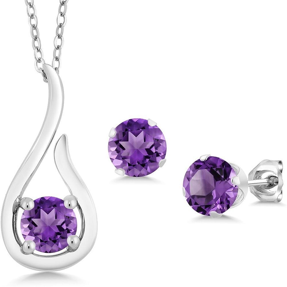 Gem Stone New arrival King Limited price 925 Sterling Amethyst Pendant Earri Purple Silver