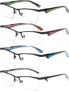 VEVESMUNDO - Gafas de Lectura Hombre Mujer Metalicas Medio Marco Presbicia Modernas Vista Leer Graduadas Blanco Rojo Azul Verde 1.0 1.5 2.0 2.5 3.0 3.5 4.0