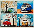 1960's to 1970's Volkswagen Bus painting prints, Set of 4 , Surfboards, VW Bus, Camper Bus, fathers day, gift, christmas, present, men, man, print