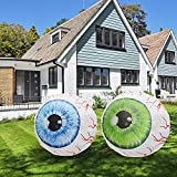 GOOSH 3 FT Height Halloween Inflatable Outdoor Blue & Green Pair of Bloodshot Eyeballs, Blow Up Yard Decoration Clearance with LED Lights Built-in for Holiday/Party/Yard/Garden