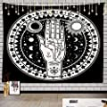 Batmerry Vintage Palmistry Occult Tapestry, The Sun Star Tarot Cards Picnic Mat Hippie Trippy Tapestry Wall Art Meditation Decor for Bedroom Living Room Dorm, 39.4 x 59.1 Inches, Black White 2