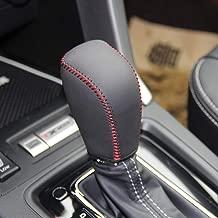 Black Genuine Leather Gear Shift Knob Cover for 2014-2017 Subaru Forester / 2012-2016 Subaru Impreza / 2013-2015 Subaru XV Crosstrek / 2016 2017 Subaru Crosstrek Automatic (Black Leather Red Thread)