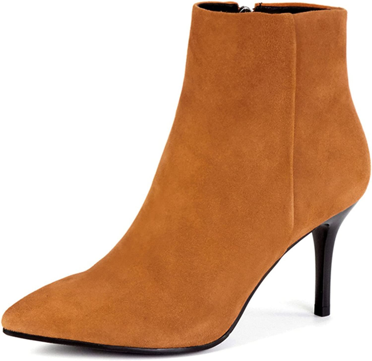 Nine Seven Suede Leather Women's Pointed Toe Stiletto Heel Zip Handmade Simple Ankle Boots