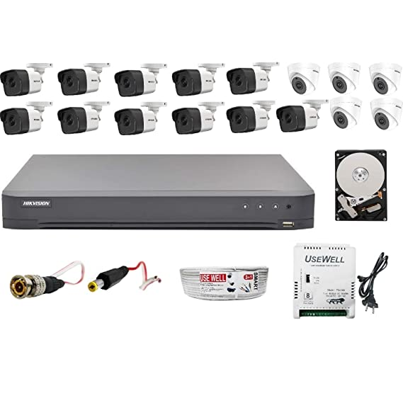 HIKVISION Ultra HD 5MP Cameras Combo KIT 16CH DVR with 2 SATA+ 11 Bullet Cameras + 5 Dome Cameras+ 4 TB Hard DISC+ Wire ROLL +Supply & All Required Connectors, Techno-Krat