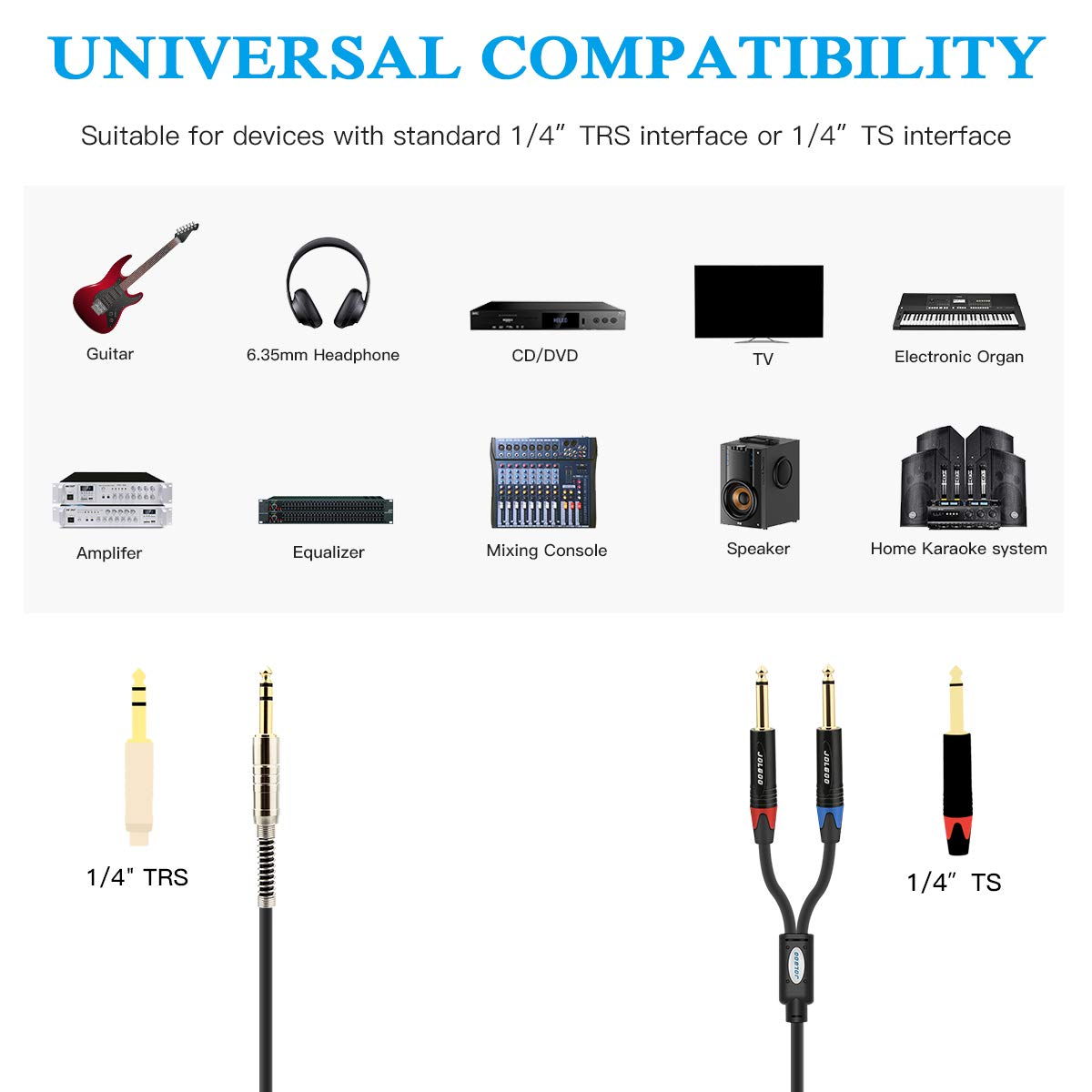 JOLGOO 1//4 TRS to Dual 1//4 TS Mono Stereo Breakout Cable 10 Feet Male 6.35mm 1//4 TRS to Dual 1//4 Inch TS Y Splitter Cord