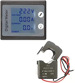 Lorenlli Medidor de Potencia Digital de 100A / 22000W Monitor de vatímetro voltímetro de CA Amperímetro Khw Tester Medidor...