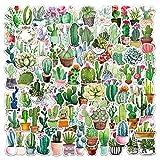MENGYUE 105 Uds Paquete de Pegatinas de Cactus a Prueba de Agua Kawaii Lindas Pegatinas para Ordenador portátil Botellas de Agua Plantas Verdes en macetas Pegatinas de Vinilo para Cuaderno