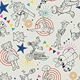 Disney Fabric Toy Story 4 Fabric Character Toss in Light Gray Fabric by The Yard