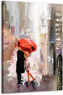 Ruidecor Modern Romantic Canvas Prints Wall Art New York Cityscape Painting Pictures Lovers with Red Umbrella for Bedroom Living Room Wall Decorations 16x24inx1