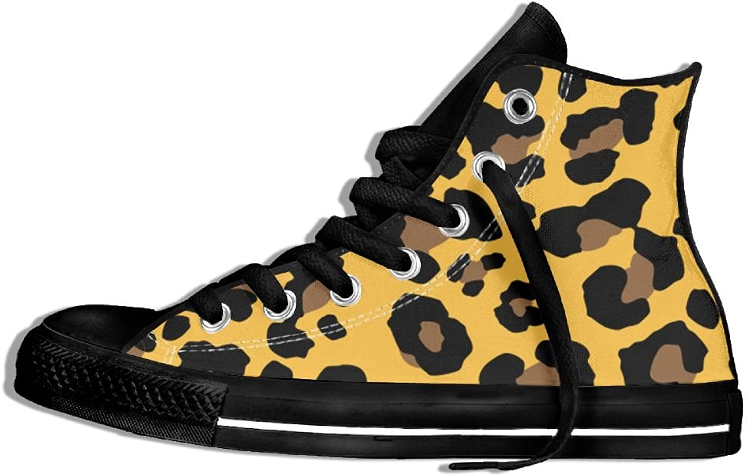 Unisex High Top Sneakers shoes Leopard Skin Pattern Flat Anti-slip Canvas Casual Soft Trainers shoes