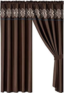WPM WORLD PRODUCTS MART 4 Pieces Curtain Set: Coffee Brown Navy Color Luxury Embroidery Panels Drapes with tie Backs for Southwestern Navajo Room Windows- Makala