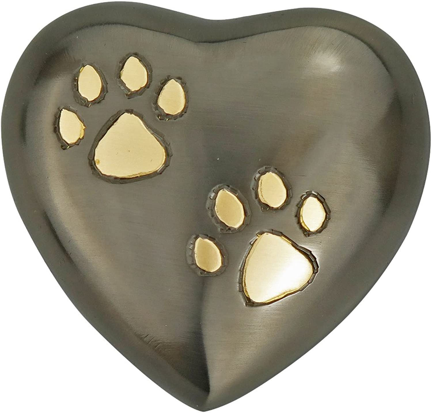 Pewter Heart with golden Paw Prints Urn Keepsake for Dog Cat Ashes Cremation