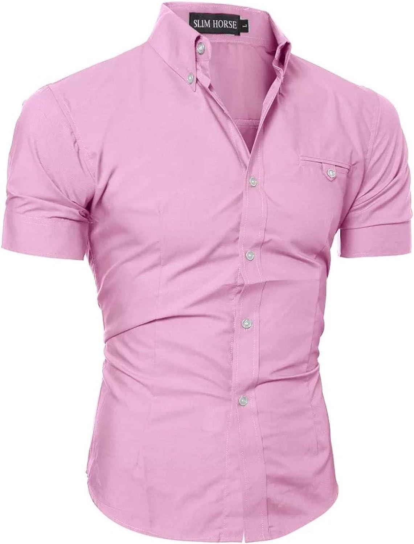 Men's Short Sleeve Shirts, Casual Regular Fit Business Button-Down Shirts, XL Pink