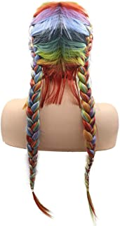 Double Braided Wig With Baby Hair Red Orange Yellow Green Blue Purple Rainbow Color Synthetic Hair for Women Long 2x Twist Braids Drag Queen Party Cosplay Mermaid Wig