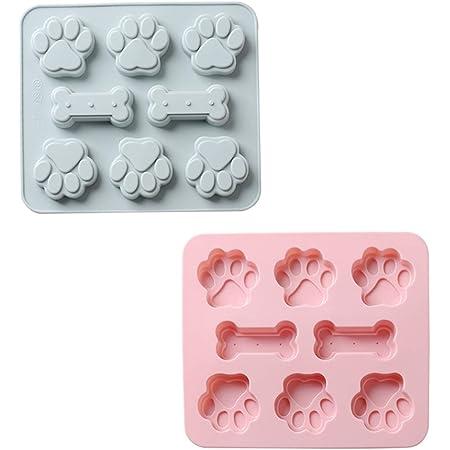 Lot de 2 moules de cuisson en silicone - 8 cavités en forme de patte de chien et d'os 2 en 1 - Réutilisables - Pour glaçons, bonbons, chocolat, cookies - Rose et gris