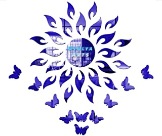 Atulya Arts Blue Sun Wall Stickers (Pack of 25) with 10 Butterfly Wall Stickers 3D Acrylic Mirror Wall Stickers Decorative...