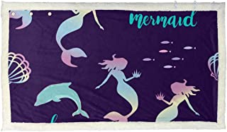 CIKYOWAY Snuggle Blanket Mermaid Silhouette Seamless Vector Pattern Holographic Poncho Shawl Decoration Blanket Scarf for Couch Cover Sofa Chair Bed Gift