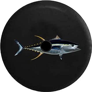 JL Spare Tire Cover Silver Metallic Tuna Fish Salt Water Mackerels with Backup Camera Hole Black 32 in