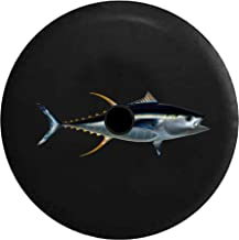 JL Spare Tire Cover Silver Metallic Tuna Fish Salt Water Mackerels with Backup Camera Hole Black 32 in