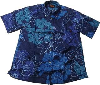 メンズ 半袖 かりゆし ボタンダウン シャツ 透かし織り込み プリント 綿混紡 4色