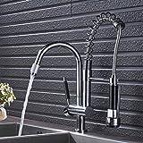 YHSGY Grifos de cocina Chrome Spring Pull Down Sprayer Single Kitchen Faucet Double Handle Faucet Free Hands Faucets Mezcladores De Cocina