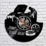 wtnhz LED-Pimp You Ride a Glowing Wall Clock Vinilo Tocadiscos Reloj de Pared Reloj de Pared Negro Servicio de Coche decoración de Pared Moderna
