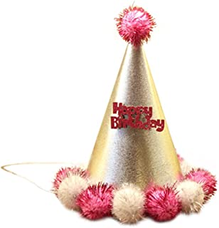 Remeehi Party Celebration Ball Dot Birthday Hat Birthday Party Decoration Kid Party Cap Pompons Hat for Children 4#