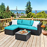Walsunny Outdoor Rattan Sectional Sofa- Patio Wicker Furniture Set