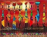 N\A DIY Pintura Al Óleo Mujeres Africanas Bailando, Siluetas Africanas Manualidades para Pintar Pintura por Numeros Adultos Niños Cuadro Lienzo 40X50Cm