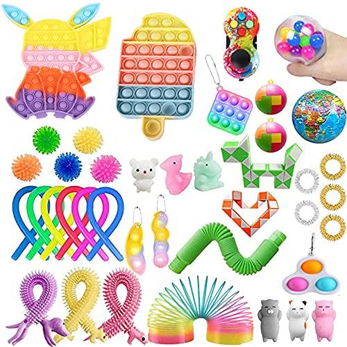 Paquete de 30 Piezas de Juguetes Fidget,Sensory Fidget Stress Relief Toys ,Juguetes antiestres,Squeeze Bean, Regalos para niños, con Autismo (40Piezas)