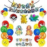 Globos Cumpleaños de Pokemon para Niños Decoración de Fiesta de Cumpleaños de Pikachu Decoración de Fiesta Temática de Pokemon Decoración para Tartas con Globos de Papel de Pikachu Niños