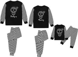 Rayas Pijama de Halloween para Familia Hombre Mujer y Niños Padres e Hijos Pijama Party Ropa de Dormir de Manga Larga Conjunto de Camisetas y Pantalones POLP