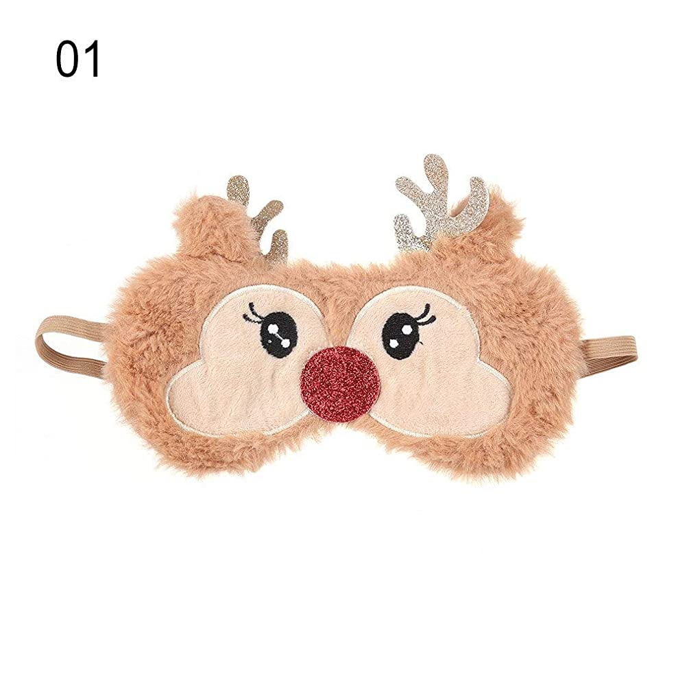 希少性移行危険なNOTE かわいいクリスマスプレゼント鹿アイカバーぬいぐるみ布ナチュラルスリーピングソフトアイマスクアイパッチ冬漫画昼寝アイシェード