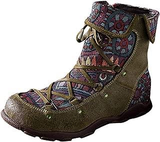 ⭐LONGDAY⭐ Block Heel Ankle Booties,Women's Bohemian Splicing Pattern Side Zipper Low Heel Ankle Leather Boots Sneakers