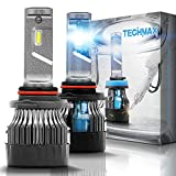 TECHMAX Mini 9005 LED Headlight Bulbs,60W 10000Lm 4700Lux 6500K Cool White Extremely Bright 30mm Heatsink Base CREE Chips HB3 Conversion Kit of 2