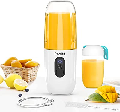Portable Blender Frappe Maker, 17.5oz for Smoothie, Fruit Juice, Milk Shakes,Realfit Mini Handheld LCD Juicer Cup 4800mAh USB Rechargeable with Six Blades for Outdoors, Home, Office(White)