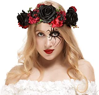 Valdler Halloween Spider Flower Crown Vintage Dark and Dramatic Dead Roses  Headband for Festivals Party Black fa64491c5832