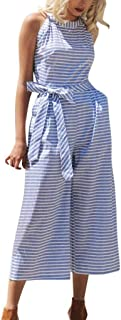 Dubocu Women's Sleeveless Striped Jumpsuit Casual Clubwear Wide Leg Pants Outfit