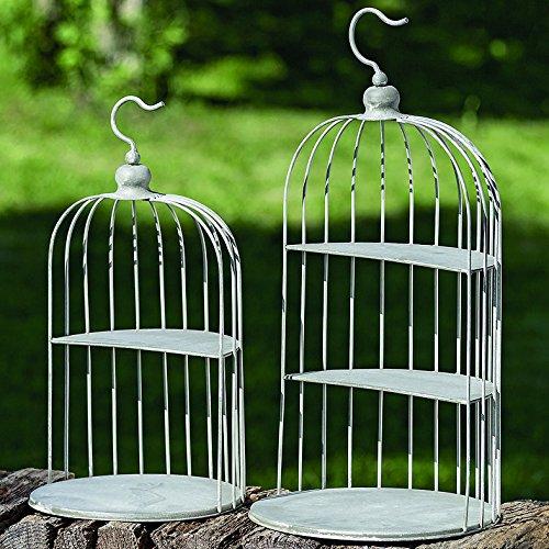 Mobilier, décoration, organisation - set de 2 cages à oiseaux adaptées aux étagères - style: classique, rustique, design - couleur: gris - matière: métal - H environ 47/59 cm