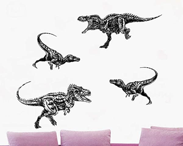 4 Set Dinosaur Black And White Style Wall Sticker Tyrannosaurus Rex Wall Decals Removable Dinosaur Stickers Window Stickers Cabinet Stickers For Kids Adult