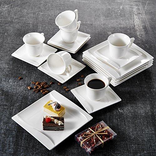 MALACASA, Serie Carina, 36 TLG. Set Cremeweiß Porzellan Kaffeeservice Geschirrset Tafelservice mit je 12 Stück Dessertteller, 12 Tasse 200ml mit 12 Untertasse für 12 Personen