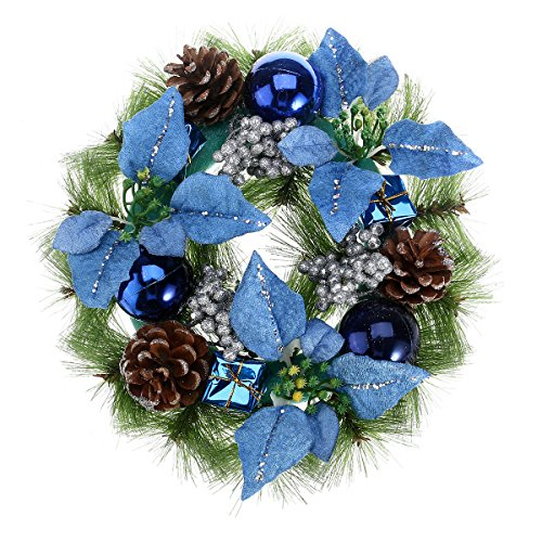 Toyvian 30cm Christmas wreath front door garland with pine needles pine cone ornaments (Blue)