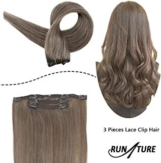 RUNATURE Brazilian Lace Clip Hair Extensions Clip in Human Hair 3pieces 50gram Ash Brown Silky Straight Clip Extensions 10 Inches Short Remi Remy Hair Clip in Real Hair Extensions Lace Clip In