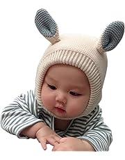 赤ちゃん 帽子 うさぎ ベビー ぼうし 子供 ニット帽 キッズ キャップ 耳保護 ハット女の子 男の子 無地 防寒保温 かわいい 新年会 春秋冬 (44-52CM)