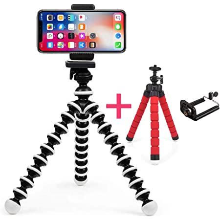 smashtronics ® - Phone Tripod, Portable and Flexible Adjustable Cell Phone Stand Holder and Universal Clip Compatible with iPhone Android Phone Compact Digital Camera Sports Camera GoPro (Medium)