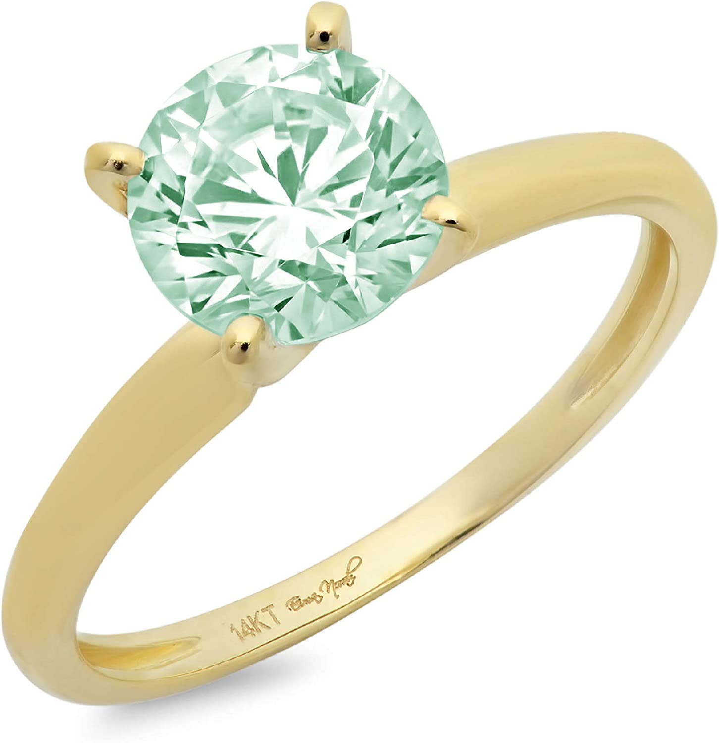 0.4ct Brilliant Round Cut Solitaire Light Sea Green Simulated Diamond Cubic Zirconia Ideal VVS1 D 4-Prong Engagement Wedding Bridal Promise Anniversary Ring in Solid 14k Yellow Gold for Women