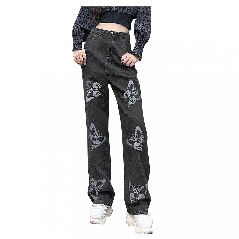 Padaleks Women's Casual High Waist Printed Jeans Distressed Baggy Denim Wide Leg Trousers Vintage 90s Streetwear