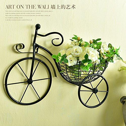 Panier à fleurs en forme de vélo - Décoration murale rétro en métal à suspendre - Pot de fleurs en fer forgé - Décoration murale à suspendre - Art nordique - Sculptures à suspendre au mur - Noir