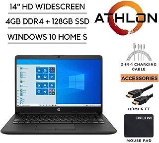 """2020_HP_14 Pavilion 14"""" HD Laptop, AMD Athlon Silver 3050U 2.3GHz, 4GB DDR4 RAM, 128GB SSD, HDMI, 802.11ac, WiFi, Bluetooth, HDMI, Webcam, Windows 10 with Santex Pro Accessories"""